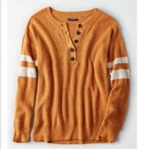 American Eagle Varsity Stripe Henley Sweater
